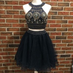 Two piece Prom Formal/Semi-Formal Dress Royal Blue